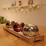 dszapaci Teelichthalter-Set auf Holz-Tablett mit 3 Windlichtern Weihnachten Tischdeko Landhausstil Wohnzimmer-Tisch - 2