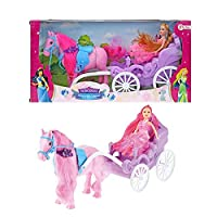Toi-Toys 05956A Horse with Carriage and Princess Glitter Horse Princess Carriage Castle Fantasy Girl