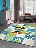 Kinderteppich Spielteppich Kinderzimmer Teppich Pirat Design mit Konturenschnitt Türkis Weiss