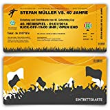 Einladungskarten zum Geburtstag (80 Stück) als Fussballticket Einladung Ticket Fußball Orange