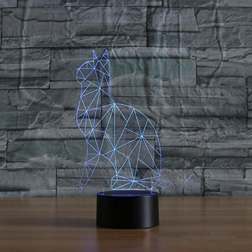 Wmshpeds Seltsam Katze bunten 3D-Licht Touch-visuelle Lampe Steigung LED-Lampe Nachtlicht -