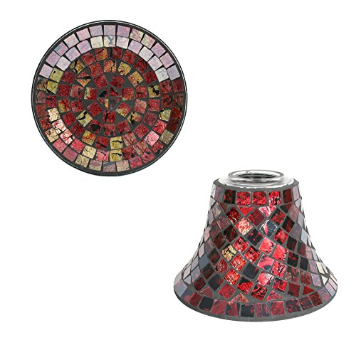 Red & Gold Mosaic Candle Shade & Plate Set