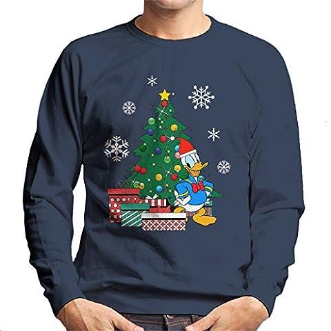 Donald Duck Around The Christmas Tree Men's Sweatshirt