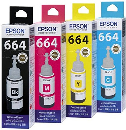 Galaxy Epson Ink All Colors (T6641-B,T6642-C,T6643-M,T6644-Y) 70 Ml Each For L100/L110/L200/L210/L300/L350/L355/L550 Multi Color Ink(Black, Magenta, Yellow, Cyan)