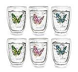 Colo urfly termico a farfalla in vetro, Set da 6pezzi, bicchieri da tè, latte macchiato vetro, tazza termica, 250ml, 2x blu/rosso/verde