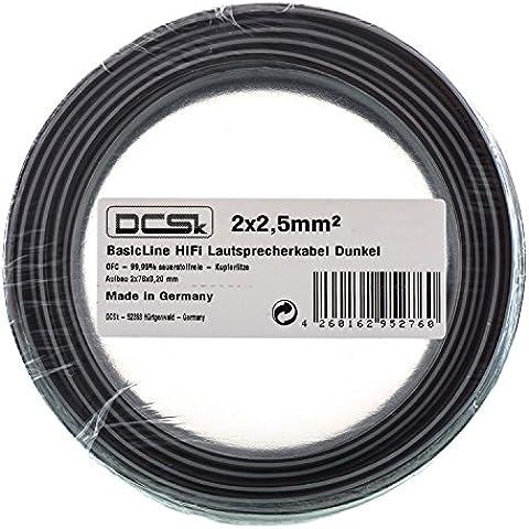 DCSk - 2 x 2,5 mm² - 10m - Cavo Hi-Fi per casse altoparlanti in rame scuro trasparente   99,99 % rame puro