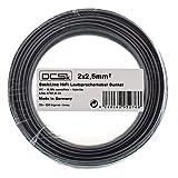 2 x 2,5mm² 20m I Cable de Altavoz Negro DCSk I Cable de Cobre OFC para HiFi/Audio I Cable de Caja 99,99% de Cobre con Aislamiento