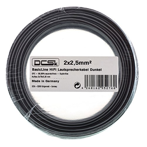 20m 2x2,5mm I Cable de Altavoz Negro DCSk I Cable de Cobre...