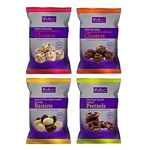 Salted Pretzels, Orange Macadamia, Raspberry Yogurt & Jumbo Raisins Mixed White Milk Chocolate Coated Treats Hider Foods (Pack of