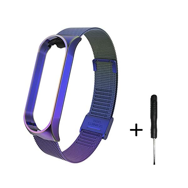 BDIG Correa Compatible Xiaomi Mi Band 4 Correas Metal,Pulsera de Acero Inoxidable Agradable para Mi Band 4 Correa (No Host) 1