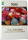 Glückwunschkarte Zum Geburtstag - 100 Jahre - Zum 100. Geburtstag - HERZLICHEN GLÜCKWUNSCH - Rosen - Mehrfarbig - mit Briefumschlag
