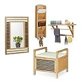 4 tlg Dielen Set Bambus, Sitzhocker mit Stauraum u. Sitzkissen, Wandspiegel, Wandgarderobe mit Hutablage, Schlüsselbrett