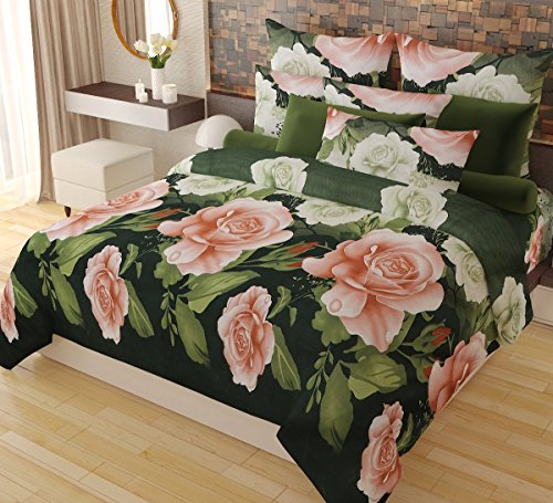 Home Candy Elegant Floral 3-D Reactive Print Double Bedsheet with 2 Pillow...