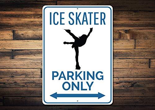 Ice Skater Parking Zeichen, Geschenk für Ice Skater, Skater Geschenk, Eislaufen, EIS Skate Decor, Metall Skate Schild, Metall Aluminium Schild, 25,4x 35,6cm -