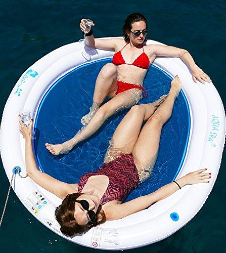 Beach art - amaca galleggiante gonfiabile acqua spa con rete 190cm, colore bianca e blu, 190 cm, m190