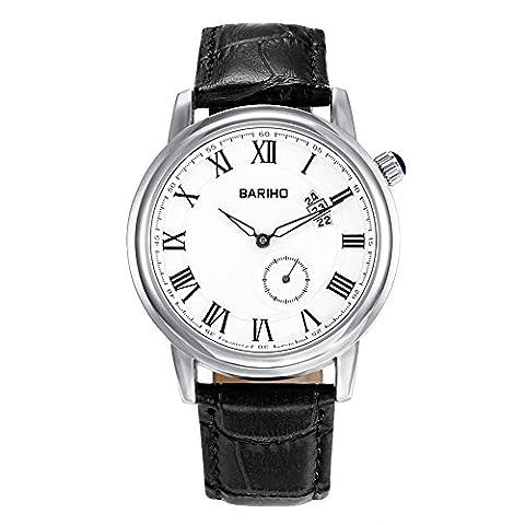 Hongboom Noir véritable de bande de cuir montre bracelet étanche à 30m pour homme décontracté Business Quartz Analogique Montre-bracelet