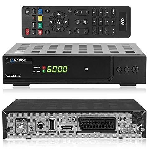 Anadol ADX 222s HD HDTV digitaler Satelliten-Receiver (HDTV, DVB-S2, HDMI, SCART, USB 2.0, Full HD 1080p) [vorprogrammiert] -