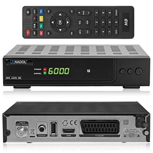 Anadol ADX 222s HD HDTV digitaler Satelliten-Receiver (HDTV, DVB-S2, HDMI, SCART, USB 2.0, Full HD 1080p) [vorprogrammiert] - schwarz