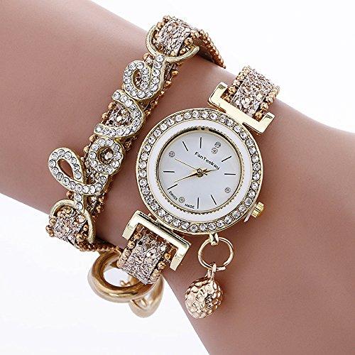 Armbanduhr Damen Ronamick Mode Frauen Mädchen Analog Quarz Armbanduhr Damen Kleid Armband Uhren Armband Armbanduhr Uhr Uhren(GD)