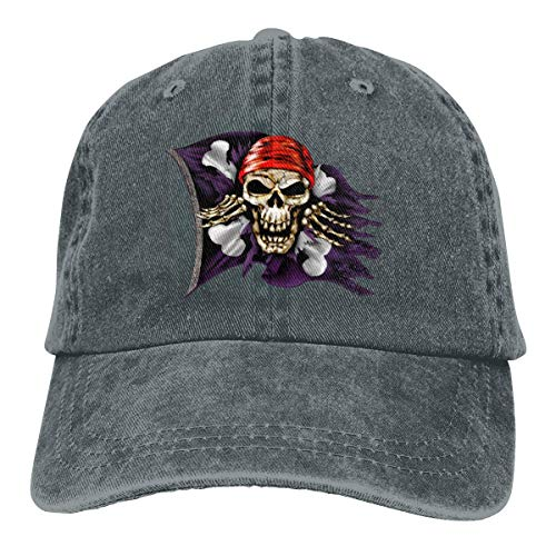 Jolly Roger Pirate Flag Retro Adjustable Cowboy Denim Hat Unisex Hip Hop Black Baseball Caps