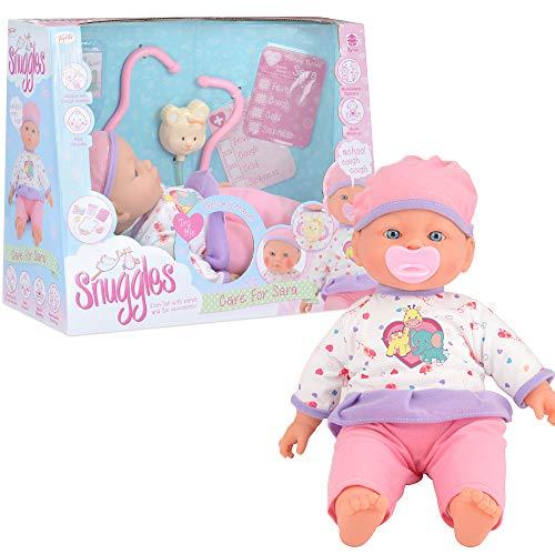 Snuggles Care for Sara Baby Doll, Muñeca de Cuerpo Suave Realista con características interactivas, 41 cm (TY6080)