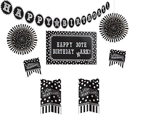 amscan 241143 Deko-Set Birthday-Black & White Personalize It