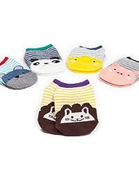 VWU Pack de 5 Pares Calcetines Bebé de Corte Bajo Unisexo Medias Infantil Niñito Algodón 0-1/1-2/2-4 Años