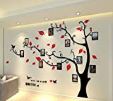 Alicemall Stickers Muraux Arbre Photo Sticker Mural 3D Stickers Muraux TV Autocollants 3d Stickers Muraux 3d Plantes Stickers Muraux Oiseaux Décoration Mural Salon(style 1(feuilles rouges vers gauche))