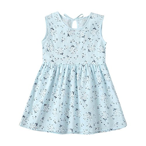 JUTOO Kleinkind Kinder Baby Mädchen Kleid Floral Print ärmellose Princess Dress Outfits ()