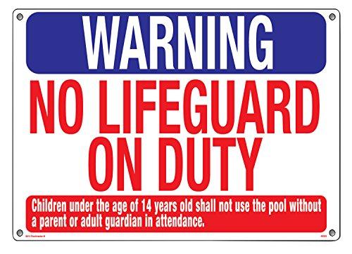 """Warnschild """"Warning No Lifeguard"""" von Poolmaster, 40325, für private und öffentliche Schwimmbecken"""