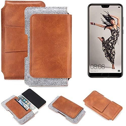 K-S-Trade Huawei P20 Pro Single-SIM Gürteltasche Schutz Hülle Gürtel Tasche Schutzhülle Handy Smartphone Tasche Handyhülle PU + Filz, braun (1x)
