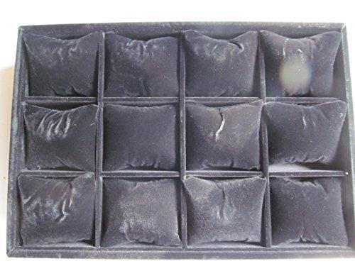 Schwarz qualität samt oberfläche schmuck uhrarmband anzeigebox etui für 12 uhren für shops, märkte, mit luxuriös gepolstert einsätze von Fat-catz