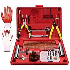 AUTOWN Autoreifen Reparaturset, Reifen Flickset, Professionelles Reifen Reparaturset für Motorrad PKW LKW, Reifenreparaturset Auto, Reifen Reparatur Set + Reifendruckprüfer (Rot)