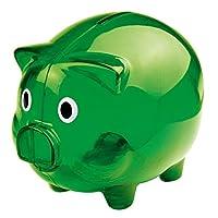 Salvadanaio in plastica a forma di maiale maialino colorato. Tappo nella parte inferiore