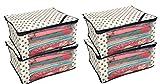 #7: Kuber Industries™ Polka Dots Saree Cover/Regular Cloth Bag/Wardrobe Organiser Set of 4 Pcs (Ivory)