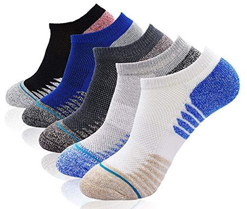 Putuo calze invisibili in cotone elasticizzato uomo, calzini fantasmini da uomo, uomo sport mini calze basse corte con silicone antiscivolo, eu 38-44, 5 paia (multicolore-3)