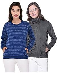 Purys Solid Jacket and Striped Sweatshirt Combo