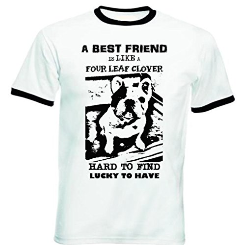 teesquare1st Men's French Bulldog Best Friend PB 24 Black Ringer T-Shirt Size Small
