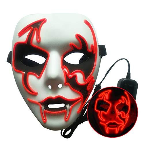 XHONG Halloweenmaske mit LED-Beleuchtung, Gruselmaske, Halloween, Cosplay-Maske, EL-Draht, Kostüm-Maske für Festivals, Partys, rot, 20x18cm
