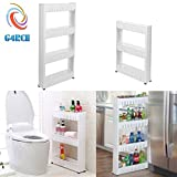 G4RCE Slim Slide Out Kitchen Trolley Rack Holder Storage Shelf Organiser Moving Wall Cabinets Tower Holder Rack on Wheels 3 Tier & 4 Tier