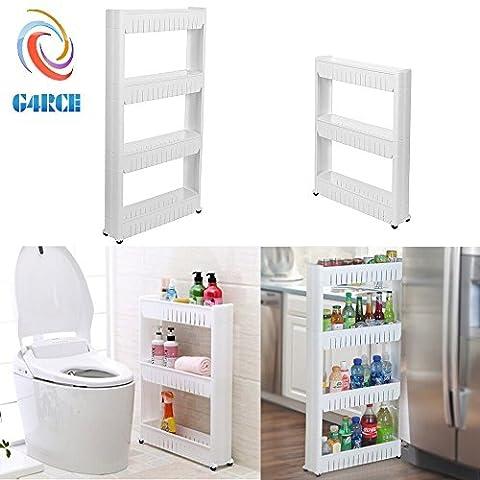 G4RCE Slim Slide Out Kitchen Trolley Rack Holder Storage Shelf Organiser Moving Wall Cabinets Tower Holder Rack on Wheels 3 Tier & 4