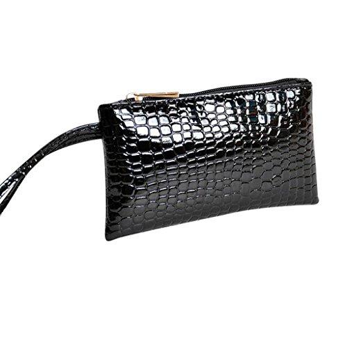 Geldbörsen, Rcool Damen Leder Clutch Handtasche Geldbörse (Schwarz)