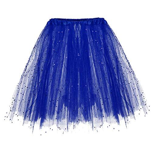 (WOZOW Damen Tüllrock Einfarbig Pailletten Dancewear Performance Tutu Cosplay Party Petticoat Karneval Fasching Frauen Kostüm Röckchen (Einheitsgröße(Taille:50-110cm),Blau))