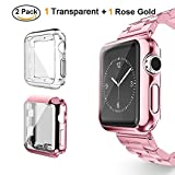 Tervoka Apple Watch Bumper, Hülle, leichte weiche Silikon Schutzhülle [Rundherum Schutz Schlankes Case] Schutz für Apple Watch 42mm Series 3/2, Sport, Edition, Nike+, 2-Pack, Rose Gold + Transparent