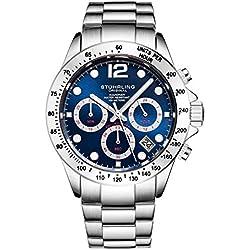 Stührling Original - Montre chronographe pour Homme, Bracelet en Acier Inoxydable avec Couronne vissée et étanche à 100 M. Mouvement à Quartz avec Cadran analogique (Silver/Blue)