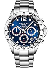 Stührling Original Men's Chronograph Watch, Stainless Steel Bracelet with Screw Down Crown and Water Resistant to 100 M. Analog Dial Quartz Movement Aquadiver Collection (Silver/Blue)