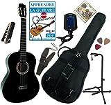 Pack GUITARE Classique 4/4 & Accessoires / Son et manufacture de qualité, permet de prendre des cours, pack avec 7 accessoires (housse, accordeur électronique, support de guitare, capodastre à pince, jeu de cordes, sangle et 3 médiators) / Corps ...