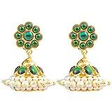 Gold finish green kempu stones Jhumki (S...