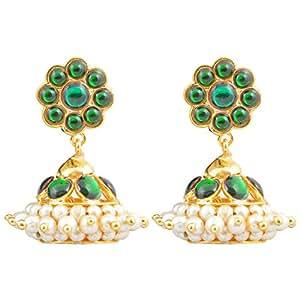 Gold finish green kempu stones Jhumki (Small)
