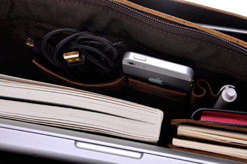 ZLYC Herren Handarbeit 14 Inch Macbook Leder Laptop Tasche Schulterbeutel,Größe M Braun